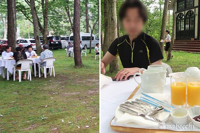 白馬八方ホテル「トロイメライ」 庭で朝食