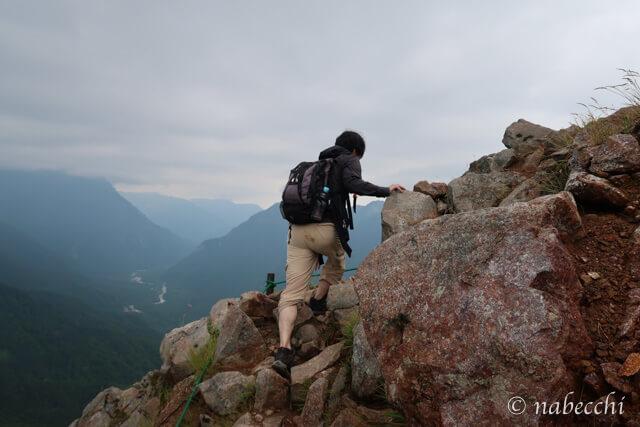 焼岳登山岩場