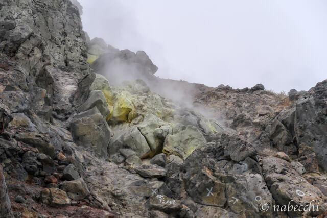 焼岳硫黄の立ち込めた世界