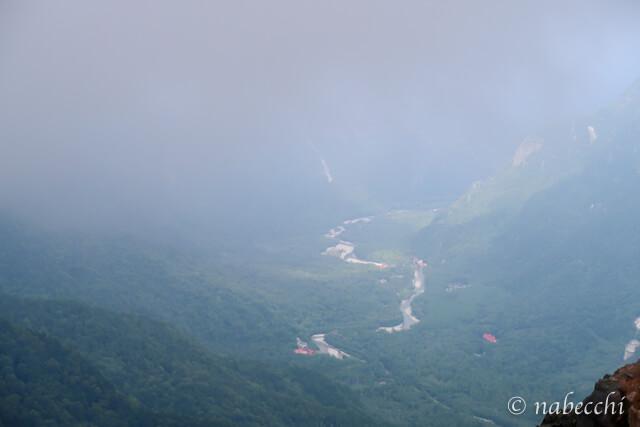 焼岳からみる上高地の眺め