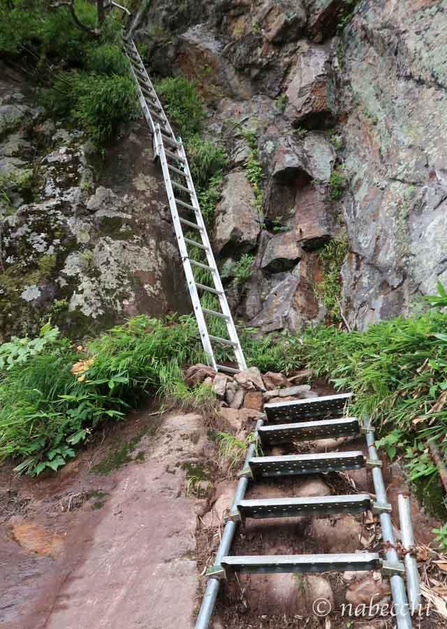 焼岳登山道 巨大2本分ハシゴ