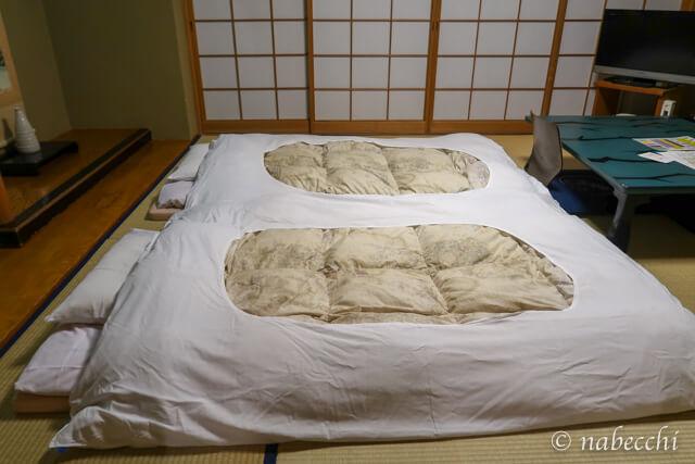ホテル白樺荘 穂高連峰独占のお部屋[和室]布団