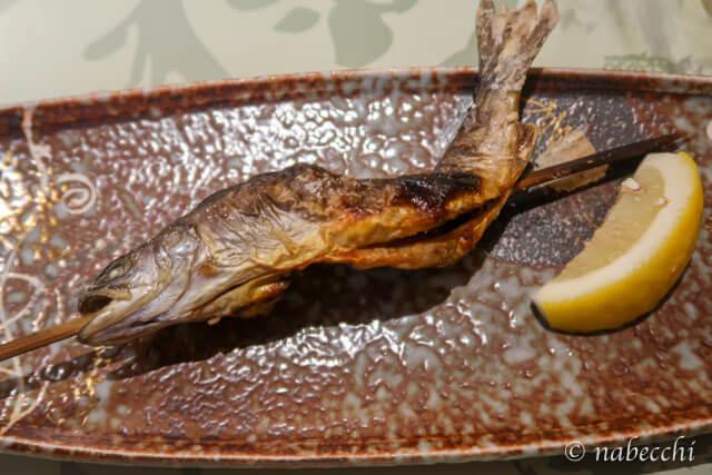 杣人料理「岩魚の塩焼き」 ホテル白樺荘