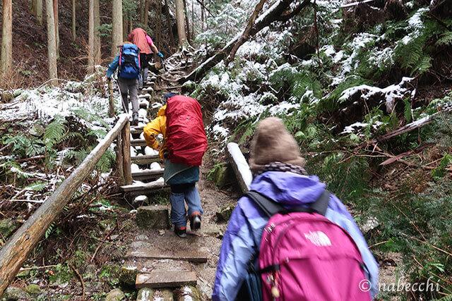 うっすら雪積もる金剛山を歩く